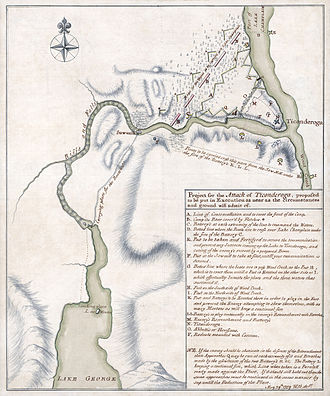 "Battle of Ticonderoga (1759) - Restored manuscript map for the British plan of attack ""proposed to be put in Execution as near as the circumstances and ground will admit of"", dated May 29, 1759"