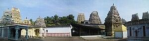 Vedagiriswarar temple - Panoramic view of the Tirupurasundari Amman Shrine at the foothills