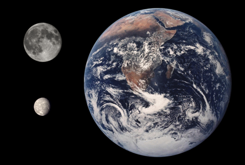 Size comparison of Earth, the Moon, and Titania. Titania Earth Moon Comparison.png