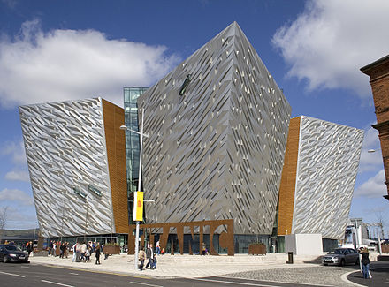 Titanic Belfast, devoted to the Belfast-built RMS Titanic, opened in 2012 Titanic Belfast side view.jpg