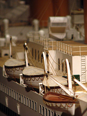 Lifeboats of the RMS Titanic - Arrangement of lifeboats on the forward part of the Boat Deck of Titanic, shown on a large-scale model of the ship