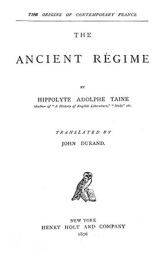Hippolyte Taine - Title page of the first American edition of Taine's The Origins of Contemporary France, published in 1876.