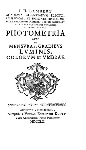 Photometria - Title page of Lambert's Photometria