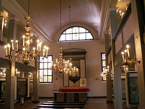 Kristijonas Donelaitis - Inside the former church of Tollmingkehmen, built by Donelaitis. In 1964, it was transformed into a memorial museum of Donelaitis.
