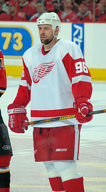 Photo de Tomas Holmstrom portant le numéro 96 des Red Wings.