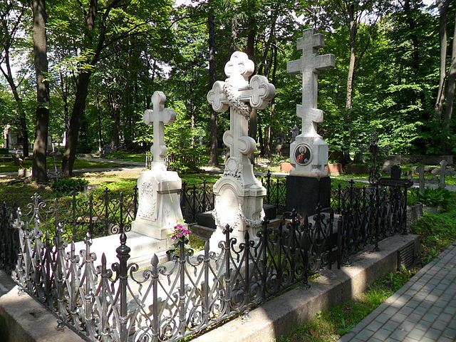Могила Ф.И.Тютчева на кладбище Новодевичьего монастыря в Санкт-Петербурге