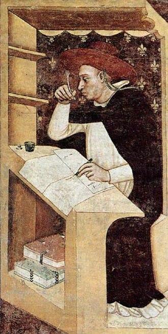 Pontifical University of Saint Thomas Aquinas - Hugh Aycelin by Tommaso da Modena, 1352. Aycelin served as a lector at Santa Sabina before 1288 when he was made Cardinal.