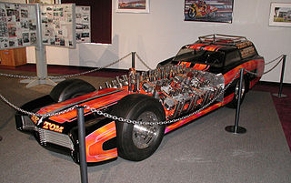 "<i>Showboat</i> (dragster) four-engined four-wheel-drive exhibition slingshot dragster, built by ""TV Tommy"" Ivo in the 1960s"