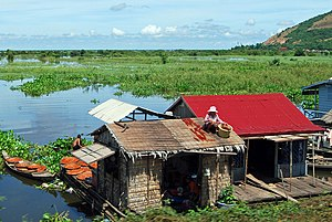 Agriculture in Cambodia - A fishing hut on the Tonle Sap.