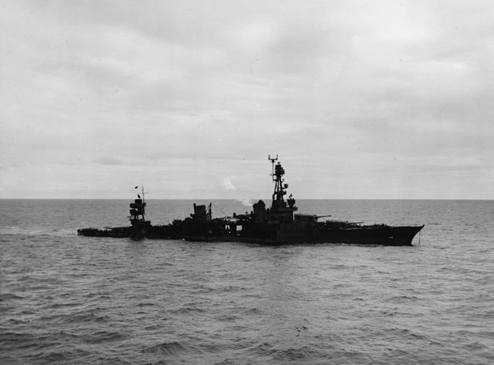 Torpedoed cruiser USS Chicago (CA-29) low in the water on 30 January 1943