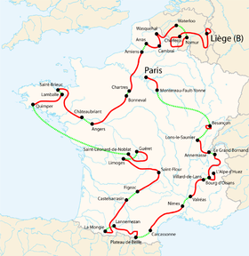 Carte des étapes du tour de France 2004