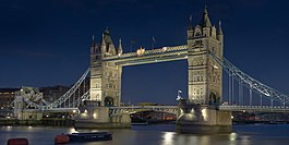 Tower Bridge on the River Thames at night.