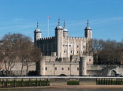 "The Tower of London, seen from the River Thames, with a view of the water gate called ""Traitors' Gate"""