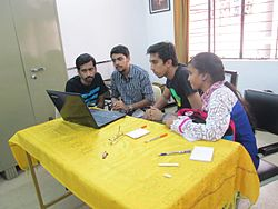 Knowledge increases by sharing not by saving. Explaining a few stuff to pedians at Train-a-Wikipedian Hyderabad session.