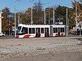 Tram 501 crossing Peterburi tee in Tallinn 20 October 2015.jpg