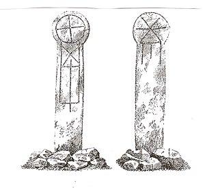 Constantine, Cornwall - Trewardreva Cross from Arthur Langdon Old Cornish crosses,1896, page 282: Front and back of the Cornish Cross at the roadside, Trewardreva, near Constantine Churchtown.
