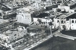 Red Castle Museum - Aerial view, circa 1950's, of the Red Castle, with Independence Square (Martyrs' Square), the Royal Miramare Theater (lower left), and old shoreline.