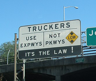 Parkway - Sign informing truckers it is illegal to use a parkway in New York City.