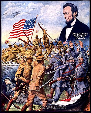 369th Infantry Regiment (United States) - Wartime poster of the 369th fighting German soldiers, with the figure of Abraham Lincoln above