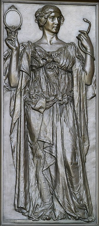 Truth - Truth, holding a mirror and a serpent (1896). Olin Levi Warner, Library of Congress Thomas Jefferson Building, Washington, D.C.