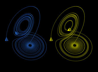 Chaos theory - The Lorenz attractor displays chaotic behavior.  These two plots demonstrate sensitive dependence on initial conditions within the region of phase space occupied by the attractor.