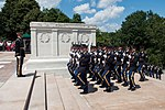 """U.S. Army soldiers from the 3rd Infantry Regiment """"Old Guard"""" march up to the Tomb of the Unknown Soldier for a wreath laying ceremony in commemoration of the Army's 238th Birthday in Arlington National Cemeter 130614-A-AO884-029.jpg"""