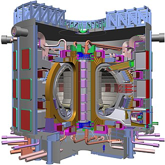 Schematic of the ITER tokamak under construction in France. U.S. Department of Energy - Science - 425 003 001 (9786811206).jpg