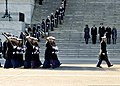 U.S. Marine Corps honor guard members perform a pass in review in front of President Barack Obama, on stairs, second from left; first lady Michelle Obama, left; Vice President Joe Biden, second from right 130121-F-AV193-266.jpg