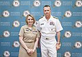U.S. Navy Adm. James A. Winnefeld, right, vice chairman of the Joint Chiefs of Staff, and Lt. Cmdr. Rosie Goscinski, president of the Sea Service Leadership Association, pose for a photograph during 2013 Joint 130606-D-HU462-114.jpg
