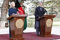 U.S. Secretary of State Hillary Rodham Clinton, left, and Afghan President Hamid Karzai, right, hold a press conference at the Presidential Palace in Kabul, Afghanistan 111020-S-PA947-614.jpg