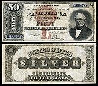 Certificado de prata de $ 50, série 1880, Fr.327, representando Edward Everett