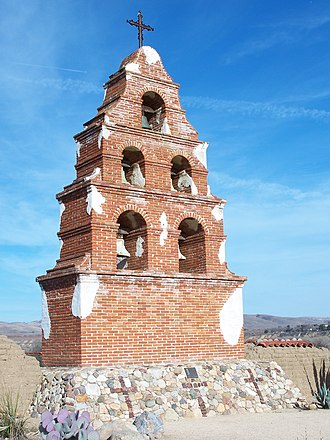 "El Camino Real (California) - The most visible mission as seen from the road while driving the current ""commemorative route"" of the Camino Real, the Mission San Miguel."