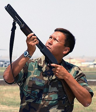Remington Model 870 - The Remington 870 12-gauge shotgun loaded with pyrotechnical shells (blanks) is seen here used as a last resort to scare off unwanted birds in flight from the vicinity of Incirlik Air Base.