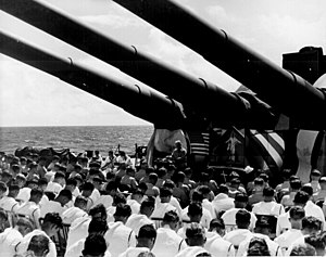 USS South Dakota (BB-57) - 1 July 1944, Chaplain Lindner reads the benediction held in honor of shipmates killed in the air action off Guam