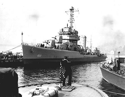 USS Maddox was bombed and sunk on the first day of the invasion. USS Maddox (DD-622).jpg