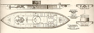 USS Monitor - Inboard plans of USS Monitor