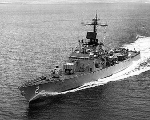 USS Ramsey (DEG-2) underway off the coast of Oahu on 28 August 1972