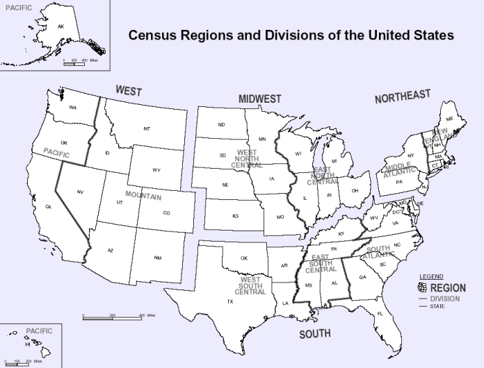 US Census geographical region map
