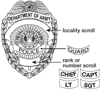 Design and layout of the U.S. Department of the Army Civilian Police and Guard Badge US Department of the Army Police-Guard Badge.png