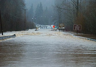 Skokomish River - U.S. Route 101 north of Shelton flooded over by nearly four feet of floodwaters from the Skokomish River in Washington State. Photo taken December 3, 2007 at the height of the December 2007 Pacific Northwest storms.