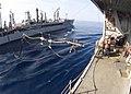 US Navy 030403-N-6404B-004 The refueling hose from the Military Sealift Command (MSC) fleet oilier USNS Tippecanoe (T-AO 199).jpg