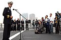 US Navy 060216-N-5334H-021 USS Blue Ridge (LCC 19), Commanding Officer, Capt. Jeff Bartkoski, answers questions from Hong Kong media members regarding Blue Ridge's port visit to China.jpg