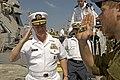 US Navy 080621-N-8273J-246 Debarking the Eilat-class corvette INS Lahav (SAAR 502), Chief of Naval Operations (CNO), Adm. Gary Roughead salutes members of the Israel Navy.jpg