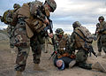 US Navy 081106-N-3857R-012 Seabees assigned to the Naval Mobile Construction Battalion (NMCB) 1 quick reaction force secure a hostile camp intruder with zip ties.jpg