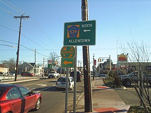 Tuckerton, New Jersey - The intersection of U.S. Route 9 and CR 539 seen in Winter 2005