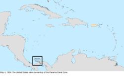 Map of the change to the United States in the Caribbean Sea on May 4, 1904