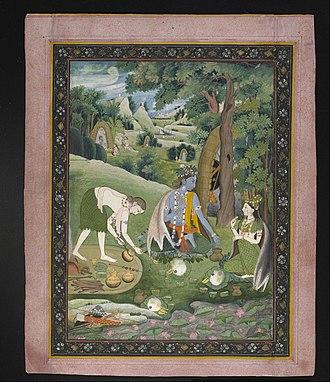 Ramanandi Sampradaya - Rama, Sita, and Lakshmana cooking and eating in the Wilderness (picture).