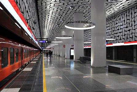 Urheilupuisto metro station in November 2017. The station is part of the Western metro extension (Finnish: Länsimetro) of the Helsinki Metro.
