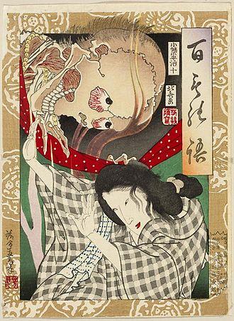 Undead - Utagawa Yoshiiku, Specter frightening a young woman