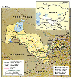 Separates the territories of Kazakhstan and Uzbekistan